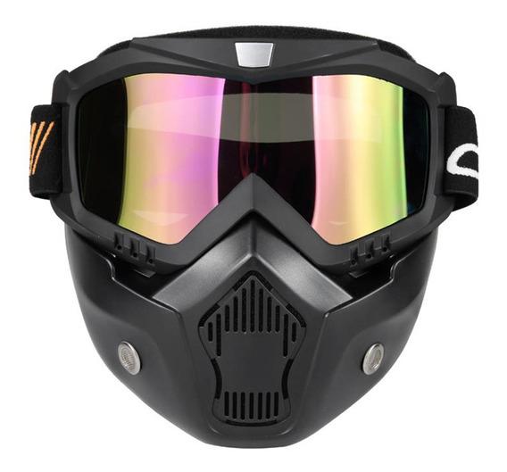 Mortorcycle Máscara Desmontable Gafas Y Filtro Boca Para