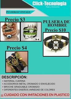 Pulsera De Mujer De Cuero Vintage Multicolor. Precio $4.00
