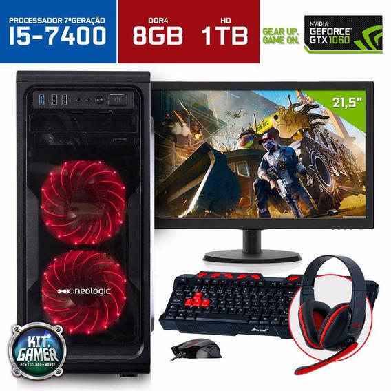 Pc Gamer I7 7700 8gb Gtx 1060 6gb 1tb + Monitor + Ssd