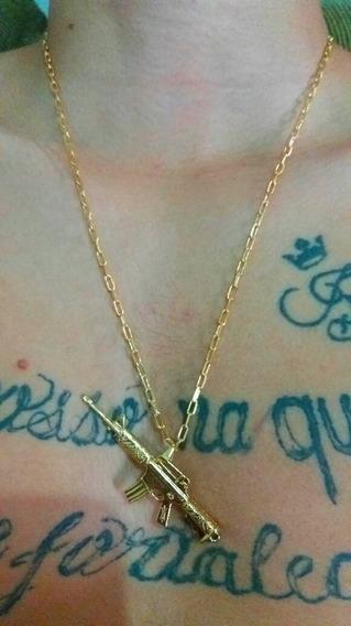 Cordão Masculino Banhado À Ouro 18k Pingente Fuzil