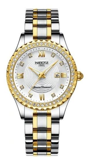 Relógio Feminino Nibosi Luxo Original Prova D