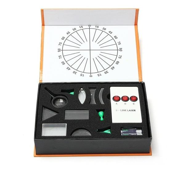 Kit Refrator Óptico Prisma De Vidro Lupa Espelho Laser