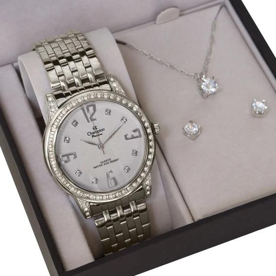 Relógio Champion Feminino Analógico + Colar E Brincos