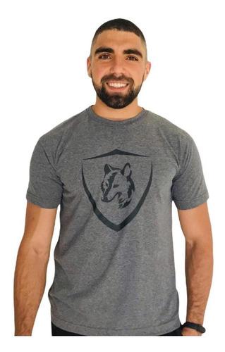 Imagem 1 de 2 de Camiseta Brasão Lobo Mescla C002
