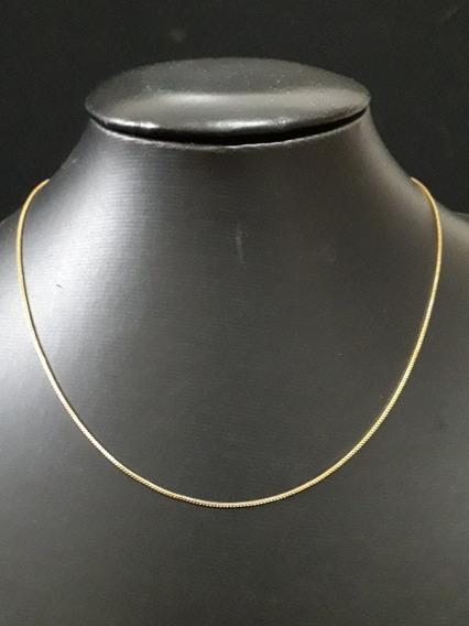 Corrente Veneziana 45cm 1mm Folheada Ouro 18k Nfe