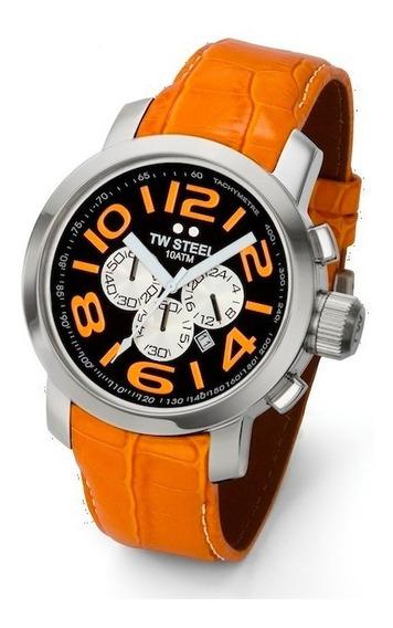 Reloj Tw Steel Grandeur Negro/naranja Tw53, Piel, Garantia
