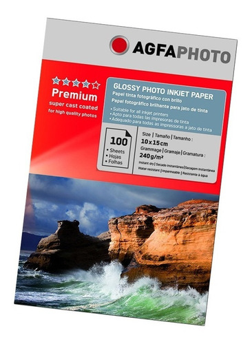 Papel Glossy Agfa Photo Papel Premium 10x15 240gr 100 Hojas