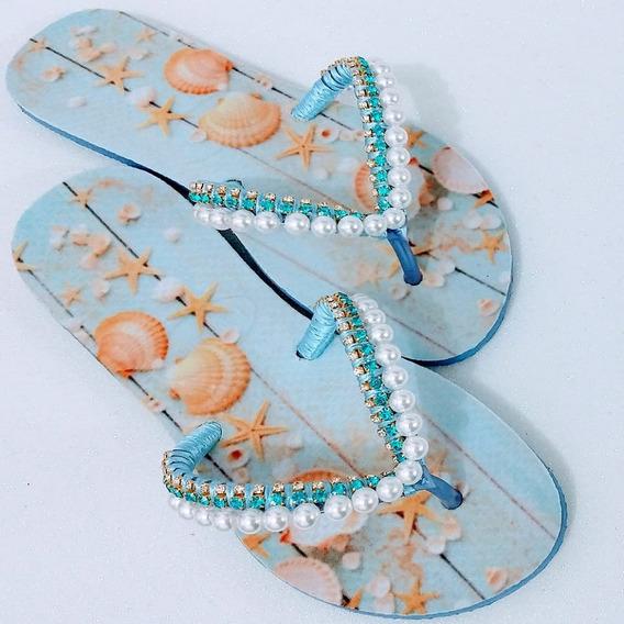 Sandálias Chinelo Havaianas Decoradas Praiamar Perola