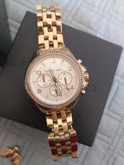 Barbada!!! Relógio Michael Kors 5347 Dourado Com Pedras