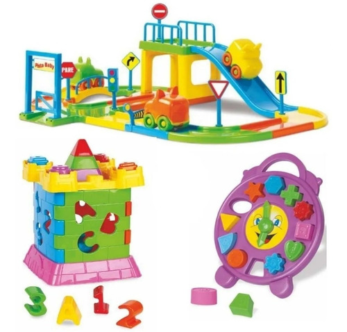 Kit Brinquedo Educativo Infantil Relógio+castelo+pista Carro