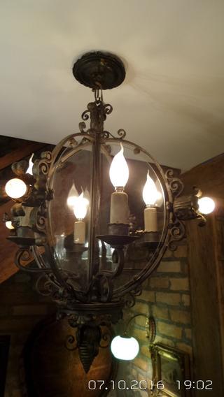 Lustre Antigo Em Ferro Batido 8 Lampadas