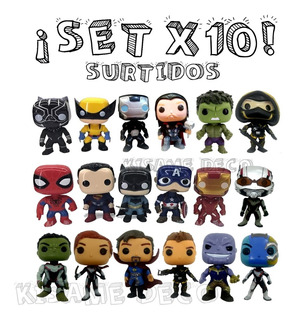Set X10 Simil Funko Pop Marvel Dc Avengers Surtidos Oferta