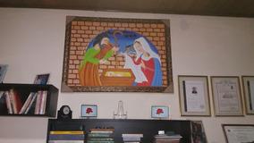 Lindo Quadro Pintado A Mão Nascimento De Jesus