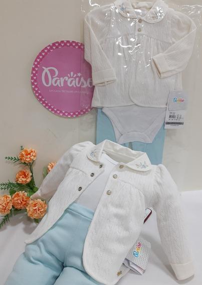 Conjunto Paraiso Moda Bebe Menina Pagão Luxo 3 Pçs Cod 8014