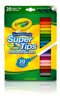 Crayola Marcadores Colores Lavables Super Tips 20 Unidades