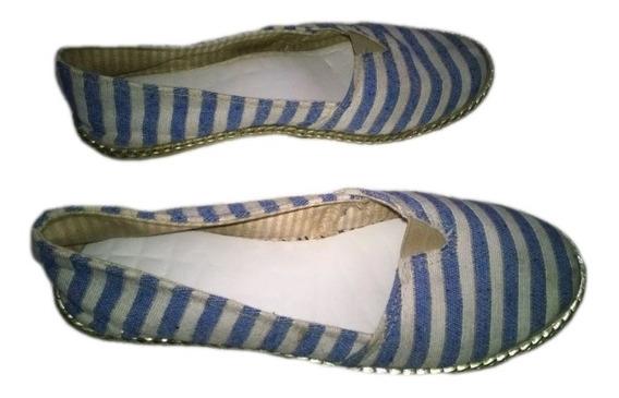 Alpargata Espadrilhe Sapato Corrente Listrado Azul Branco 35