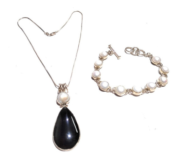 Set Collar Y Pulsera De Perlas Con Piedra Onix Envio Gratis