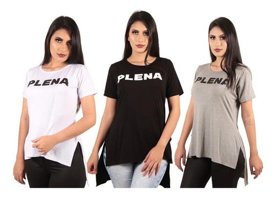 Comprar Kit/c 3 Blusas Femininas Long Line Estampadas