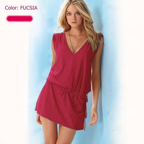 Vestido Moda Casual Color Fucsia