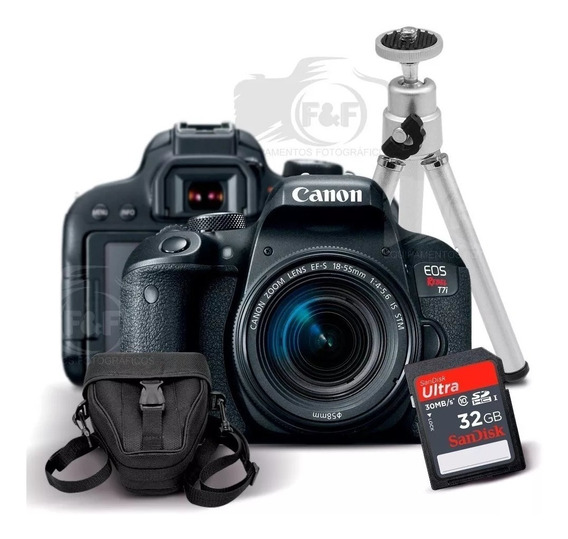 Canon Eos Rebel T7i + 18-55mm Is Stm + Sd 32gb + Case +tripé