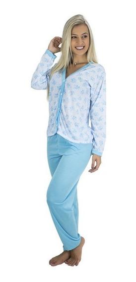 Kit 4 Pijamas Longo Adulto Feminino Blusa Aberta Botões