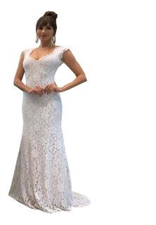 Vestido Noiva Renda Festa Casamento Decote Calda Vrl523