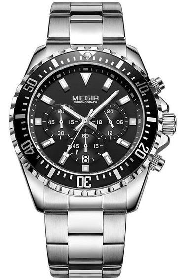 Relógio Masculino Megir Ms2064g Aço Hardlex
