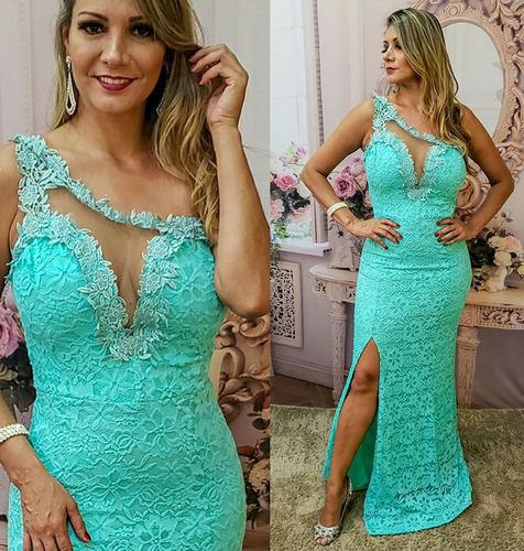05bb9b98a Vestido Madrinha Verde Agua Tiffany - Vestidos Longos Femininas Azul ...