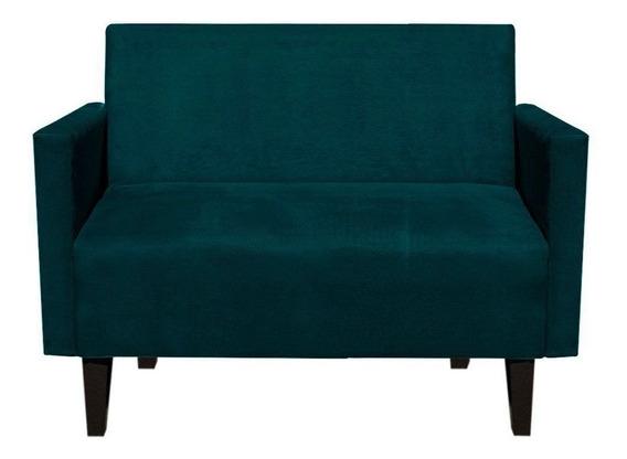 Sofá Retrô Compacto Jade 2 Lugares Suede Azul Pavão