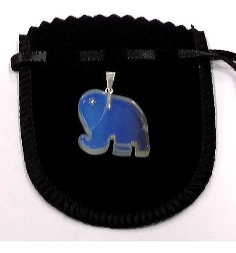 Lindo Pingente Elefante De Pedra Da Lua Opalina 2cm Ele1