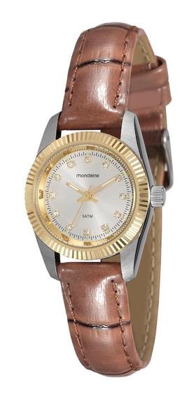 Relógio Feminino Mondaine Prata E Dourado De Couro Marrom