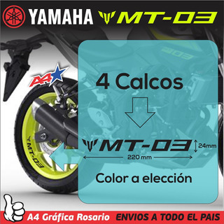 Yamaha Mt09 Mt07 Mt03 - 4 Calcos Vinilo Premium Para Llanta