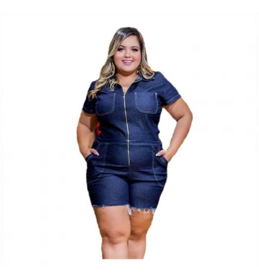 Macaquinho Plus Size Jeans Pedal Feminino Lycra Frete Grátis