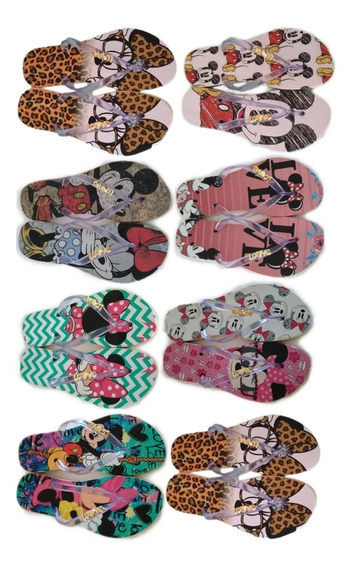 Kit 10 Pares Chinelo Transfer Estampa Mickey Minnie Promoção