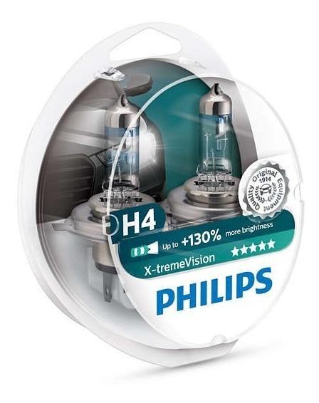 Kit Nova Philips X-treme Vision H4 55/60w 130%+luz Promoção