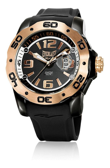 Relógio Pulso Everlast Masculino Calendário Preto E561