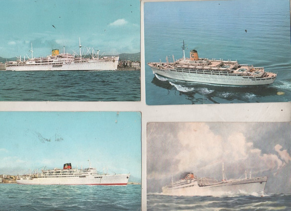 Lote 4 Postales Barcos * Linea C * Años 60