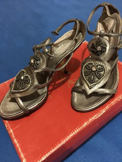 Zapatos Saverio Di Ricci Plateados N 37 ( Usados 2 Veces )