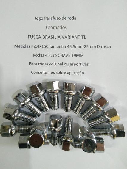 Jogo Parafuso Roda Cromado Fusca Brasília Variant 19mm