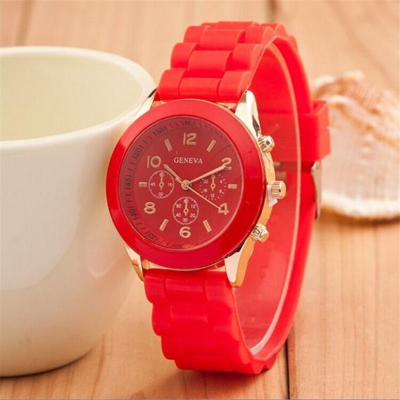 Relógio Feminino Casual Esporte Silicone Vermelho