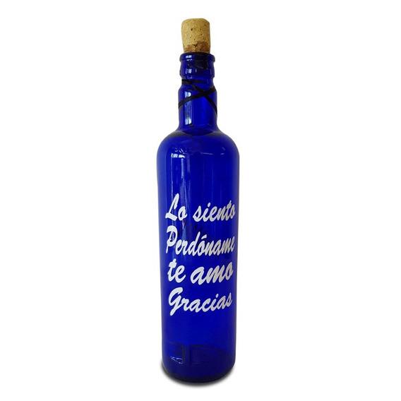 2 Botella Azul Hoponopono De Vidrio Para Agua Solarizada