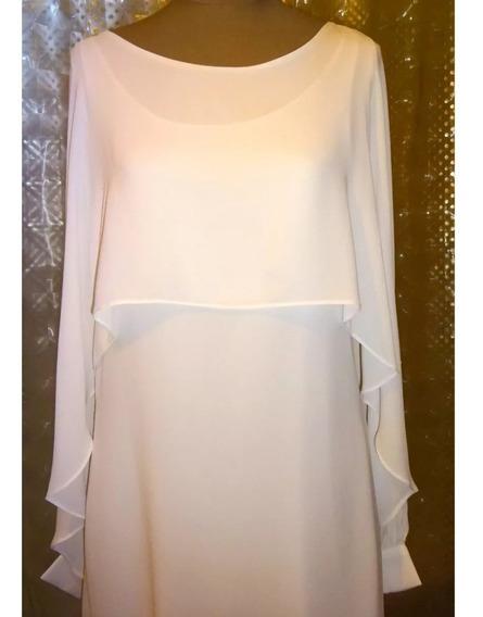Vestido Gasa Blanco Con Capa