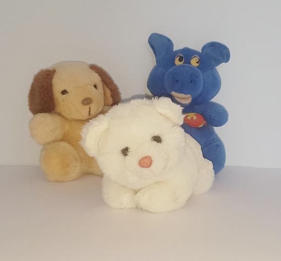 3 Bichinhos De Pelúcia: 2 Cachorrinhos E 1 Porquinho -