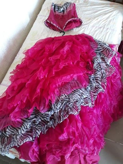 Vestido De Xv Años Color Magenta Con Cebra