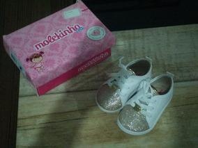 Tênis Casual Menina Molekinha Branco/dourado