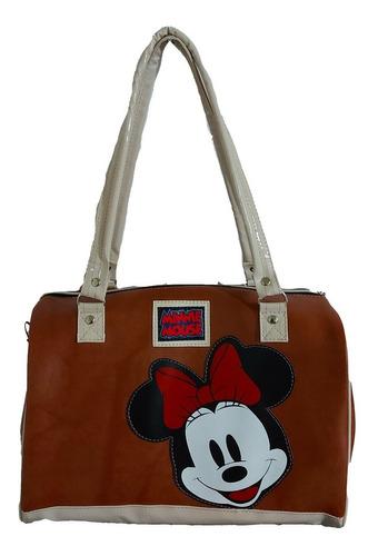 Imagen 1 de 7 de Bolsa - Petaca De Mickey Mouse En Cafe/beige  De Vinyl.