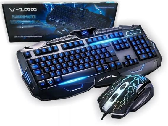 Kit Teclado E Mouse Gamer V-100 Multimídia Usb Com Fio