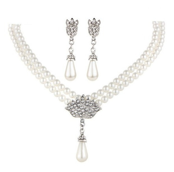 Romantico Collar Aretes Imitación Perla Cristales Novia