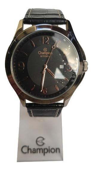 Relógio Champion Pulseira De Couro Caixa Cromada Calendário