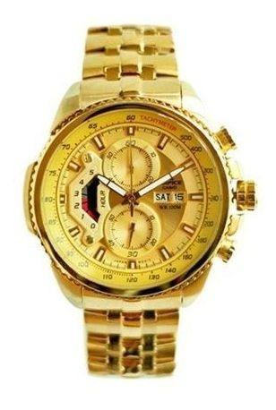 Relogio Casio Edifice Ef 558 Dourado Branco Gold